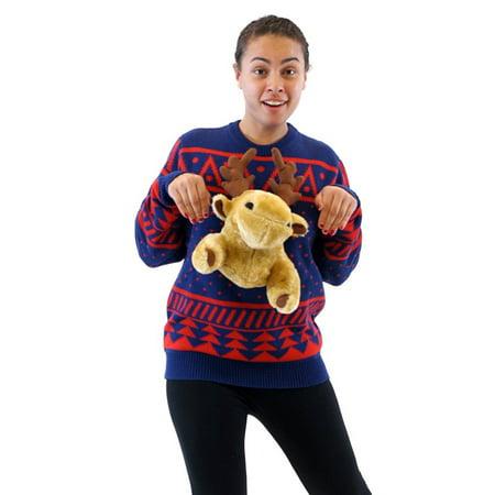 costume agent navy 3d reindeer moose ugly christmas sweater walmartcom - Reindeer Christmas Sweater
