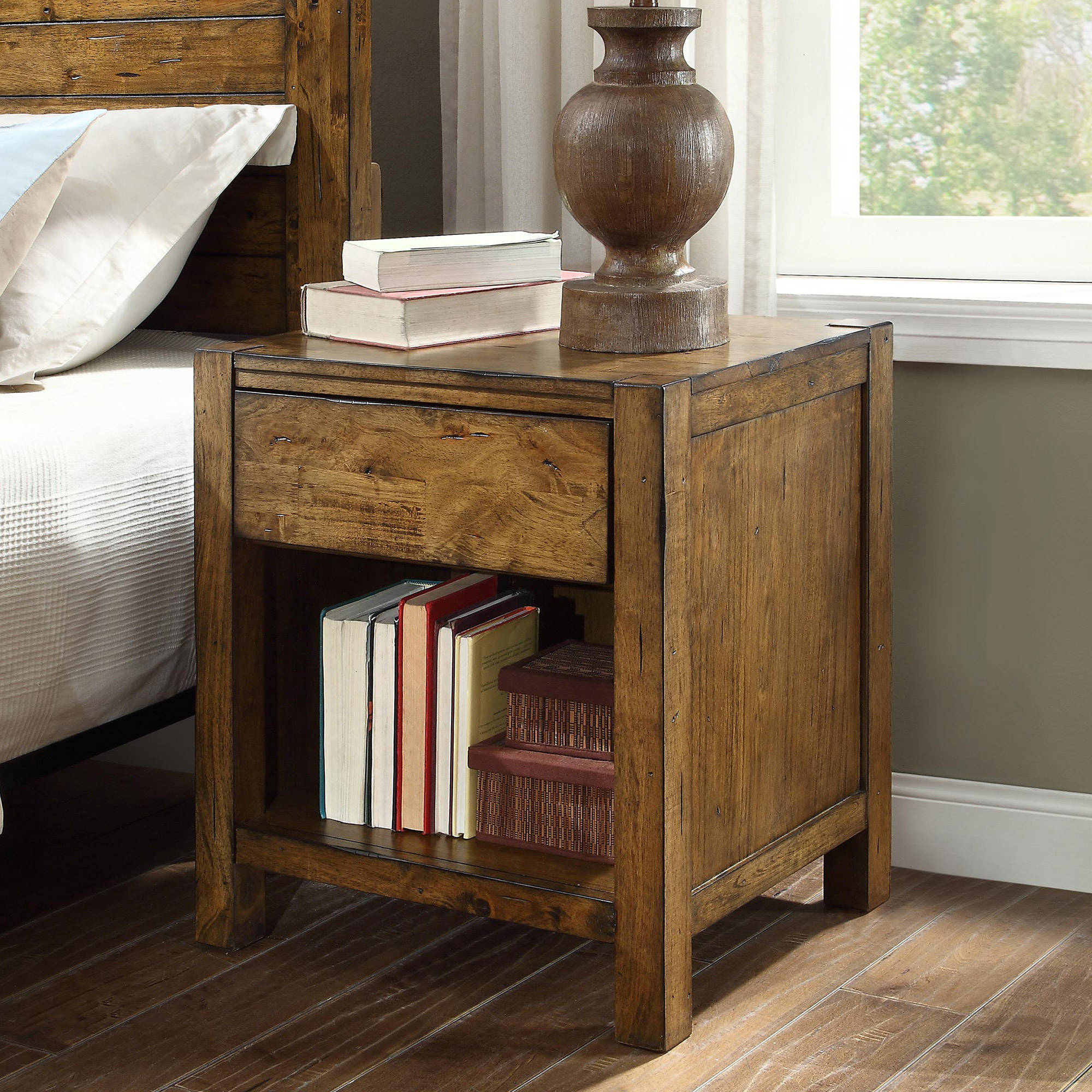 Details About Nightstand Solid Wood Rustic Barn Wood Finish Night Stand Bedroom Furniture New