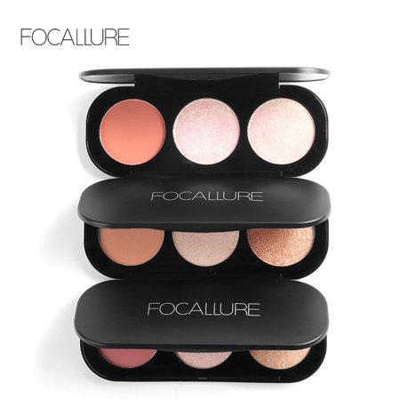 FOCALLURE 3 Types 3 Colors Blush Highlighter Bronzer Palette Contour Shadow Powder Face Mankeup,Bronzer Palette,Blush Palette
