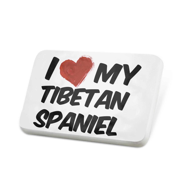 Porcelein Pin I Love my Tibetan Spaniel Dog from Tibet Lapel Badge – NEONBLOND