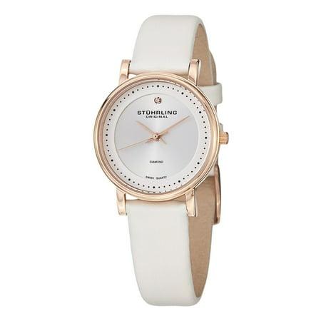 Stuhrling Original  Women's Ascot Diamond Swiss Quartz Diamond Leather Strap Watch Set - (Leather Ascot)