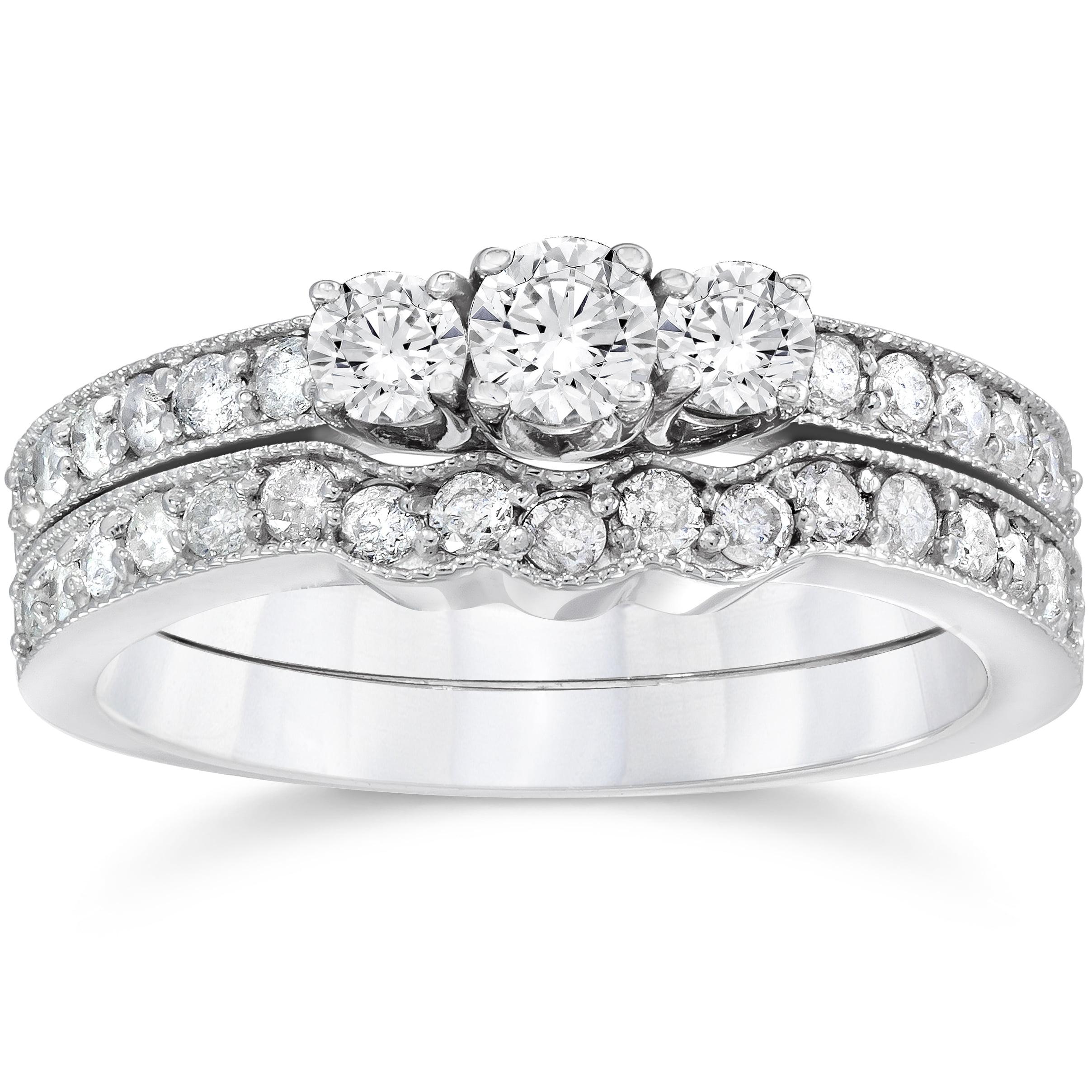 3 4ct Three Stone Vintage Diamond Engagement Wedding Ring Set 10K White Gold by Pompeii3