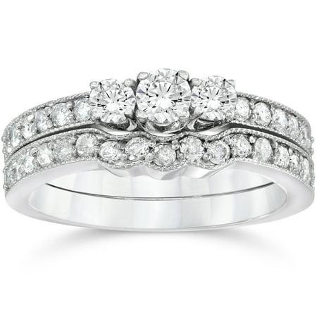 3 4Ct Three Stone Vintage Diamond Engagement Wedding Ring Set 10K White Gold