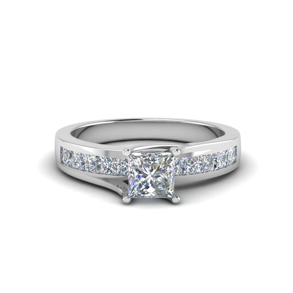 Fascinating Diamonds 1 Carat Princess Cut Diamond Bridge Style