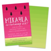 Personalized Sliced Watermelon Birthday Party Invitations