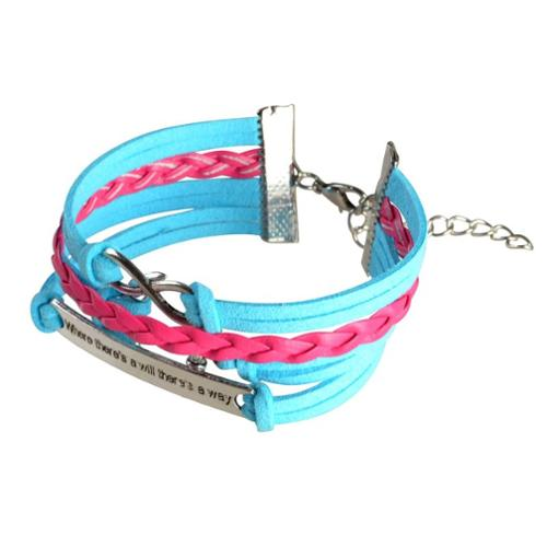 "Zodaca Baby Blue Hot Pink Women Fashion Braided Leather Bracelet Multilayer with Bronze Idiom Plate Design 7"" to 9"""