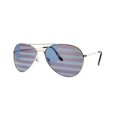 American Flag Aviator Sunglasses with Gold Frames USA July 4th Independence Day