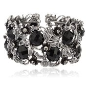 Antique Silvertone Ancient Flower Design Cuff Bangle with Crystals & Stones