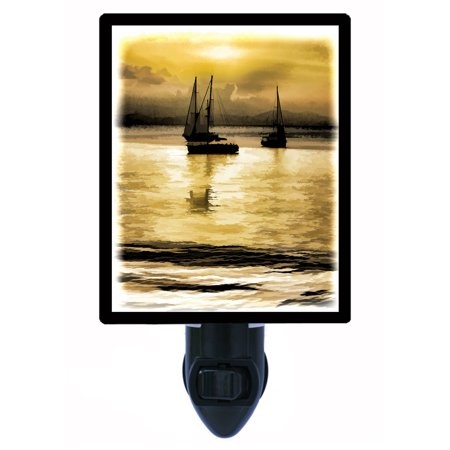 Silent Night Ring (Night Light - Photo Light - Silent Waters - Sail Boat - Tropical - Sunset )