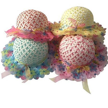 Girls Sunflower Straw Tea Party Hat Set (8 Pcs, Assorted Colors) - Girls Tea Party Hats