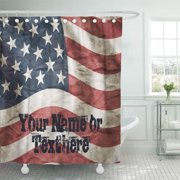 CYNLON Red USA Vintage American Flag Blue Patriotic White Custom Bathroom Decor Bath Shower Curtain 60x72 inch