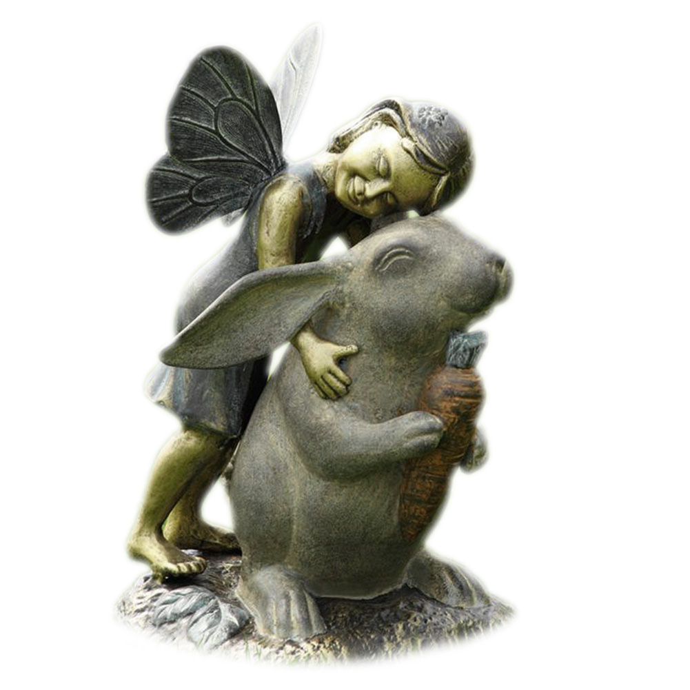 Adorable Fairy and Bunny Happiness Garden Statue by San Pacific International (SPI)