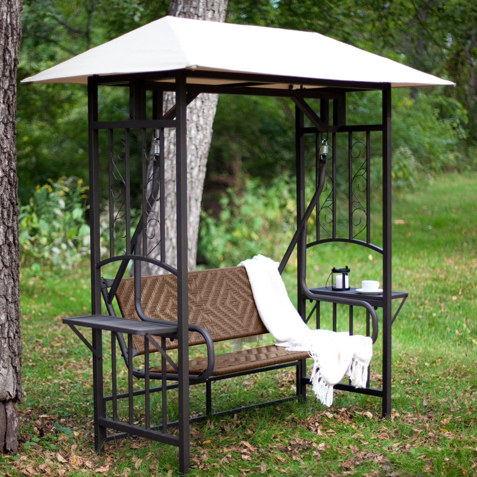 Coral Coast Bellora 2 Person Gazebo Swing Natural Resin Wicker by Resin Furniture