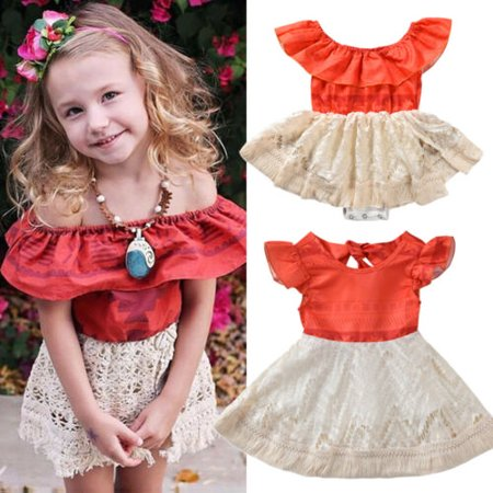 Toddler Kid Baby Girl Clothes Sister Matching Moana Polynesia Lace Romper