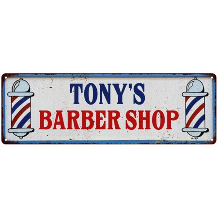 Barbershop Led Sign (TONY'S Barber Shop Hair Salon Personalized Metal Sign Retro 6x18 106180031471)