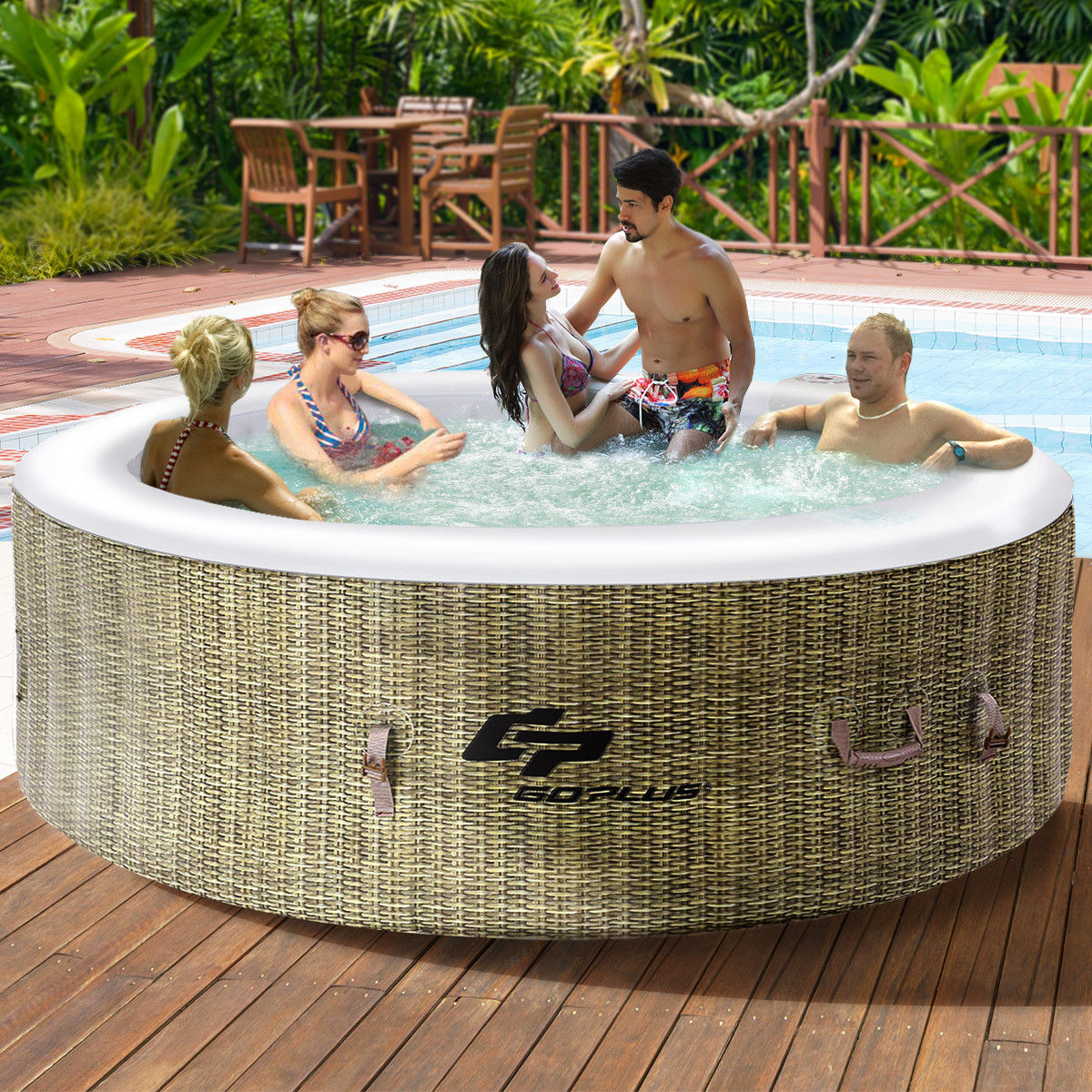Goplus 6 Person Inflatable Hot Tub Outdoor Jets Portable Heated Bubble Massage Spa by Costway