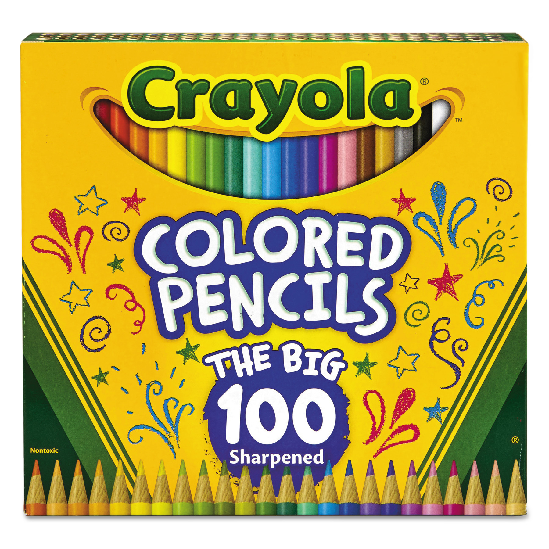Crayola Long Barrel Colored Woodcase Pencils, 3.3 mm, 100 Assorted Colors/Set