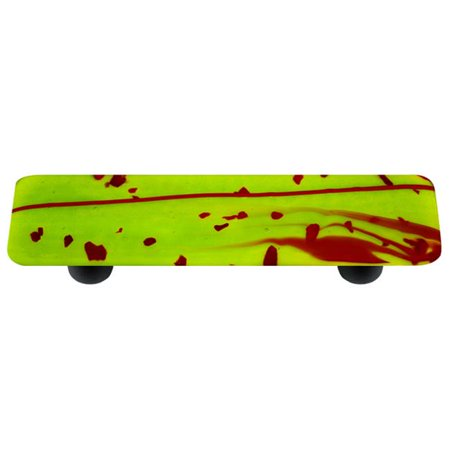 Hot Knobs HK3110-PB Mardi Gras Red with Spring Green Rectangle Glass Cabinet Pull - Black - Double Post Cabinet Pull