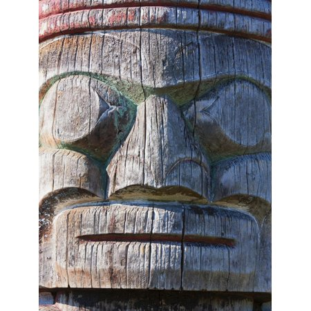 Weathered Face on Totem Pole Outside the Maritime Museum, Vancouver, British Columbia, Canada, Nort Print Wall Art By Martin Child (Vancouver Halloween Weather)