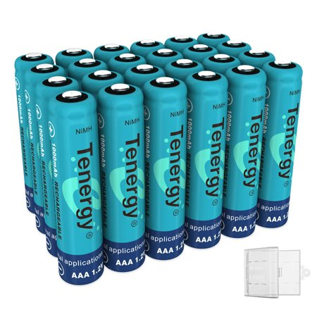 Tenergy AAA Rechargeable Battery, High Capacity 1000mAh NiMH AAA Battery, 1.2V Triple A Batteries 24-Pack, Bonus 6 Battery Cases (Aaa Battery Case)