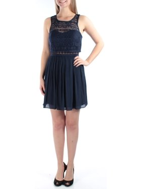83c48e473038 Product Image BCX Womens Navy Pleated lace Sleeveless Jewel Neck Above The  Knee A-Line Dress Juniors