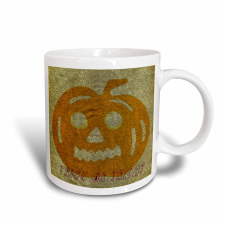 3dRose Trick or Treat Spider Web Pumpkin Halloween, Ceramic Mug, - Trick Or Treat Halloween Pumpkin
