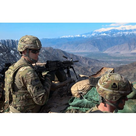 US Army soldiers provide security during an Afghan Border Patrol Poster Print by Stocktrek Images