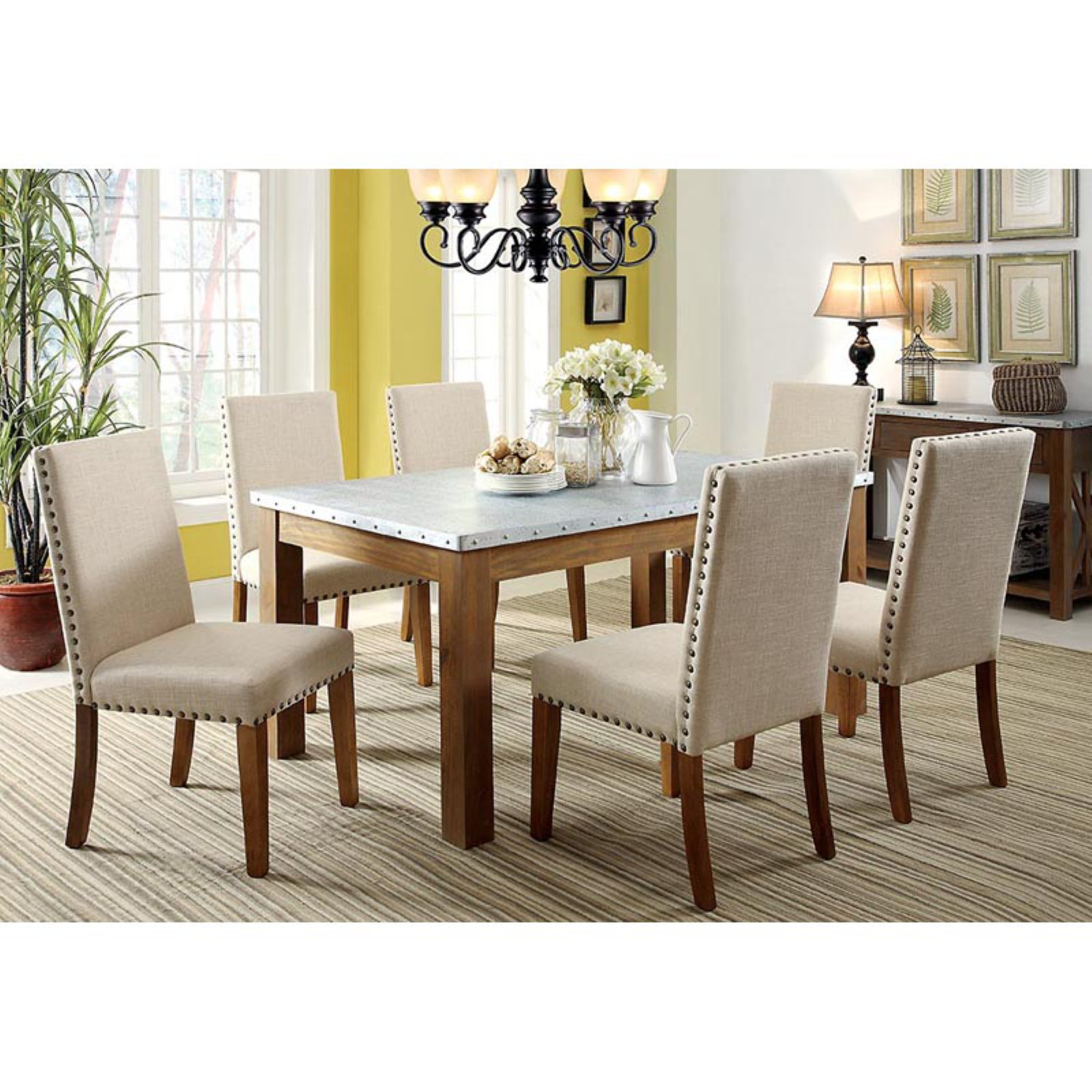 Furniture of America Workins Iron Top Dining Table - Natural