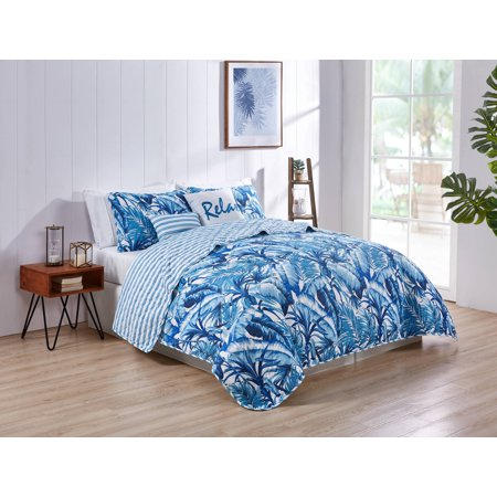 VCNY Home Blue Tropical 5 Piece Bedding Quilt Set, Shams and Decorative Pillow Included