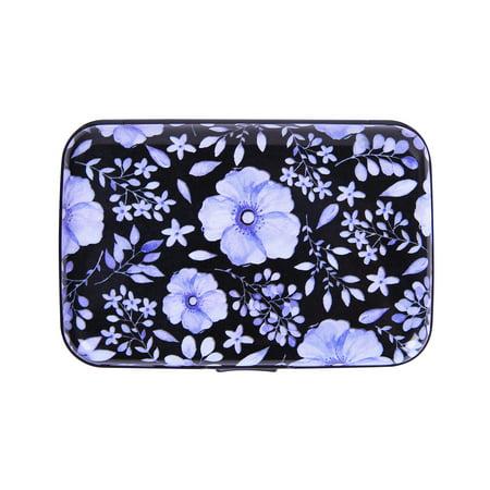 HDE RFID Credit Card Holder Front Pocket Hard Shell RFID Wallets for Women (Blue Flowers)