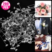EEEkit 200Pcs Crystal Head Corsage Pins Sewing Pins, Diamond Crystal Pins Corsages Flower Pins, Straight Quilting Head Pins for Bouquet Jewelry Wedding Party Dressmaker Anniversary Decorations