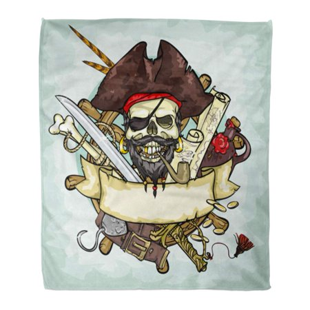 ASHLEIGH Flannel Throw Blanket Retro Black Tattoo Pirate Skull Space Collection Adventure Caribbean Soft for Bed Sofa and Couch 50x60 Inches](Outer Space Tattoo)