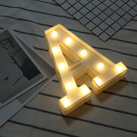 Alphabet LED Letter Lights Light Up White Plastic Letters Standing Hanging A - Light Up Toys.com