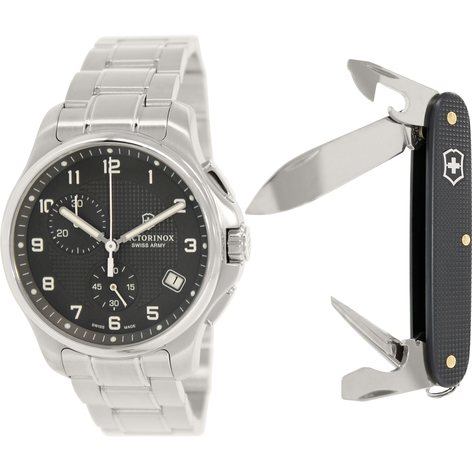 Victorinox Swiss Army Men's Officer's 241592.1 Silver Stainless-Steel Swiss Chronograph Fashion Watch