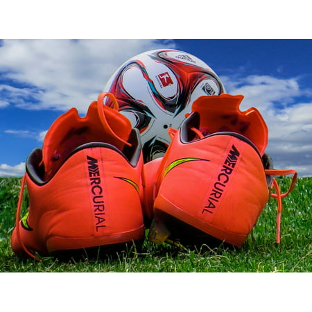 Canvas Print Sport Footballers Football Boots Ball Football Stretched Canvas 10 x