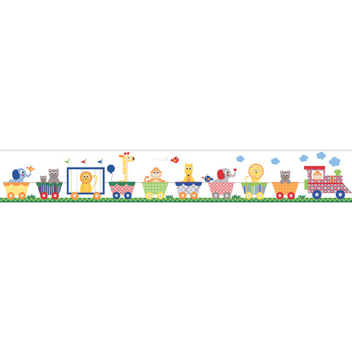 York Wallcoverings Peek-A-Boo Circus Train Wallpaper Border