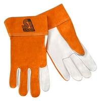 Pearl Grain Goatskin Unlined 4-Inch Rust Cuff Steiner 0227-S TIG Gloves Small