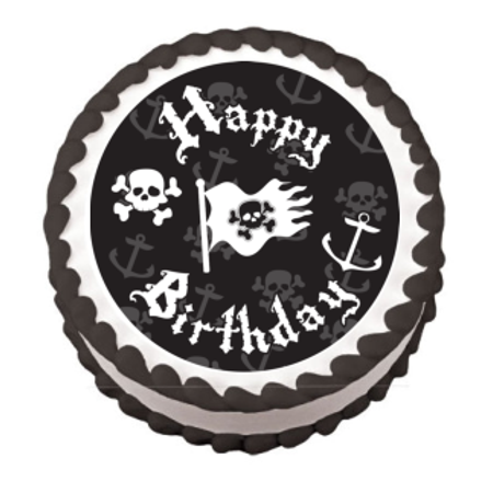 Pirate Happy Birthday Edible Frosting Sheet Photo Image Cake Topper