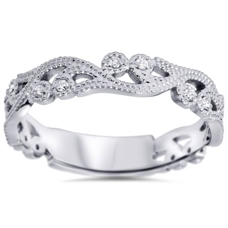 Women's 1/6ct Vintage Scroll Stackable Diamond Ring 14K White Gold - image 4 of 4