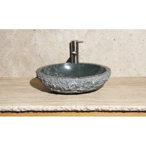 Allstone Group Oval Vessel Bathroom Sink with Broken Edge