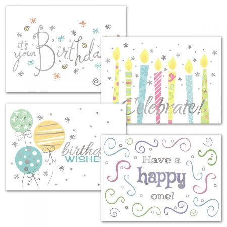 Wishes Deluxe Foil Birthday Cards - Set of 8 (Adult Birthday Wishes)