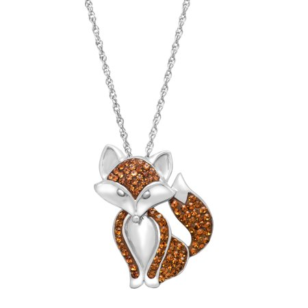 9f2d3ba8aa70e Fox Pendant Necklace with Swarovski Crystals in Sterling Silver
