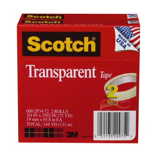 "Scotch Glossy Transparent Tape - 0.75"" Width X 72 Yd Length - 3"" Core - Moisture Resistant, Photo-safe, Stain Resistant, Non-yellowing - 2 / Pack - Clear (6002P3472)"