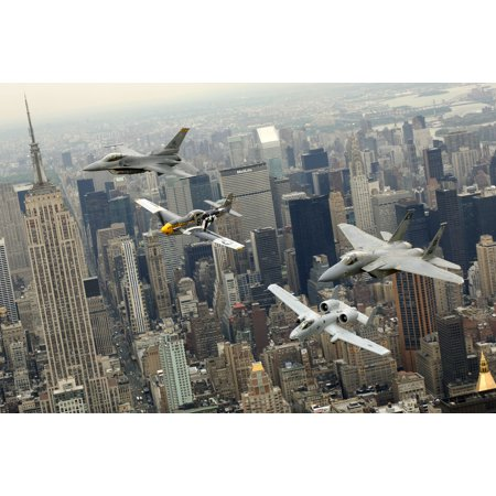 Canvas Print P-51 Mustang, F-16 Fighting Falcon, F-15 Eagle, A-10 Thunderbolt II Stretched Canvas 10 x - Mustang Bald Eagle