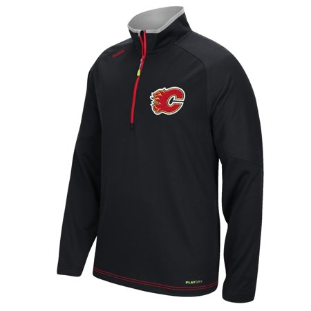 Calgary Flame NHL Reebok Men's Black 2015-16 Center Ice 1/4 Zip PlayDry Fleece Sweatshirt