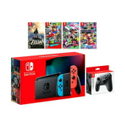 2019 New Nintendo Switch Must-Play Bundle, 32GB Neon Red/Neon Blue Joy-Con Console Set, Pro Controller, The Legend of Zelda: Breath of the Wild, Super Mario Odyssey, Splatoon 2, Mario Kart 8 Deluxe