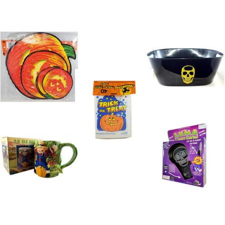 Halloween Fun Gift Bundle [5 Piece] - Classic Pumpkin Cutouts Set of 9 - Black With Skeleton Oval Party Tub -  Trick or Treat Bags 40/ct - Earthenware Scarecrow & Harvest Design Mug 14 oz. -  Luma L