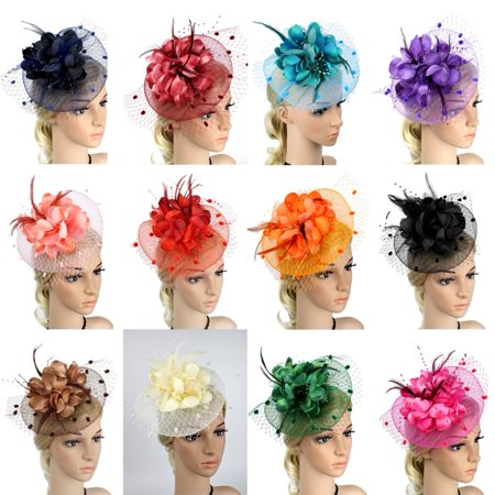 The New Hot Selling Women´s Feather Headdress With Big Flower Mesh Hair Band Cocktail Hat Party