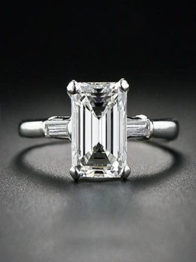 Limited Time Sale Three Stone Engagement Ring in 10k White Gold on Sale Under 200