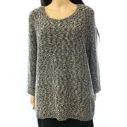 Jones New York NEW Black Women's 1X Plus Marled Knit Scoop Neck Sweater $84
